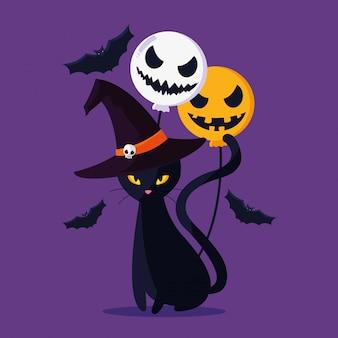 Halloween cat cartoon