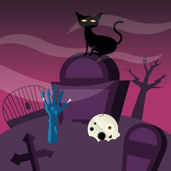Halloween cat at cemetery design, scary theme
