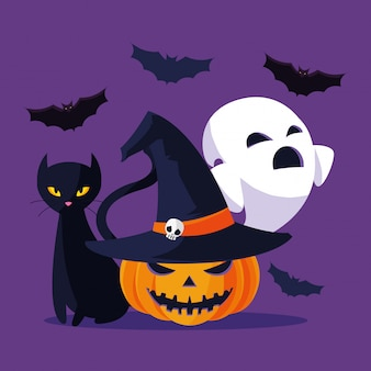Halloween cat ghost and pumpkin