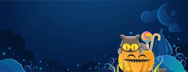 Кошка хэллоуина. счастливый баннер хэллоуина. хэллоуин фоны с ночью на кладбище