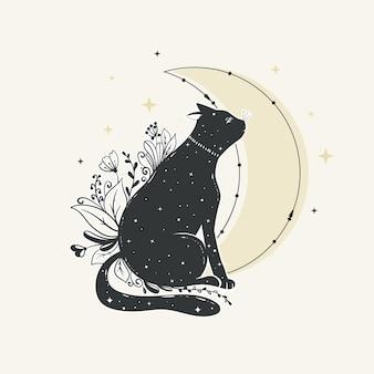 Хэллоуин кошка в плоском дизайне