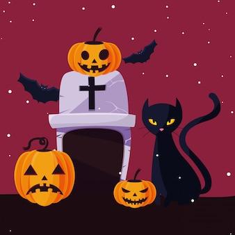 Halloween cat and pumpkins cartoons