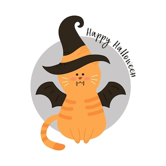Halloween cat wearing witches hat against a full moon with vampire bats.