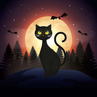 Хэллоуин кот с летающими летучими мышами и луна в темной ночи