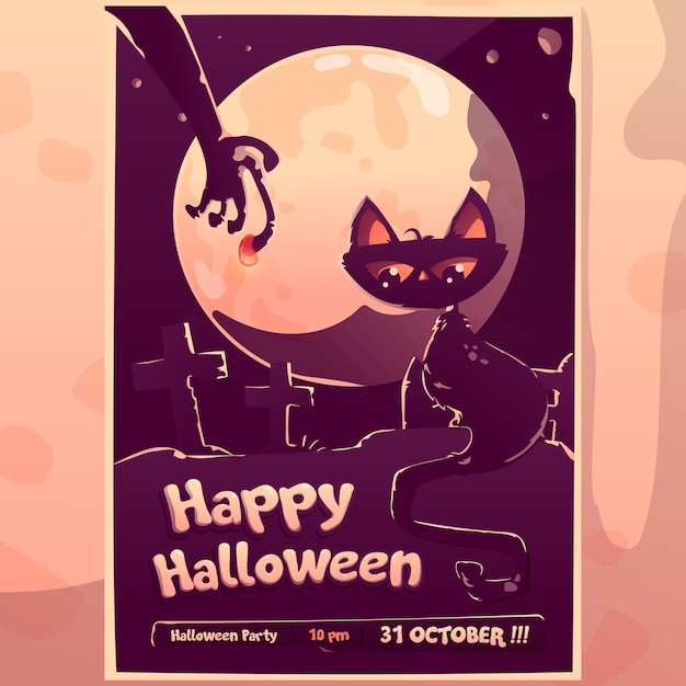Halloween cat zombie hand grave invitation