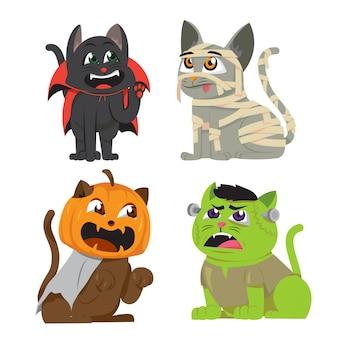 Halloween cats in costume set