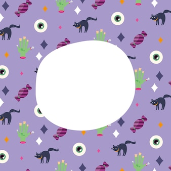 Halloween cats eyes and hands cartoons background with space for text design, scary theme