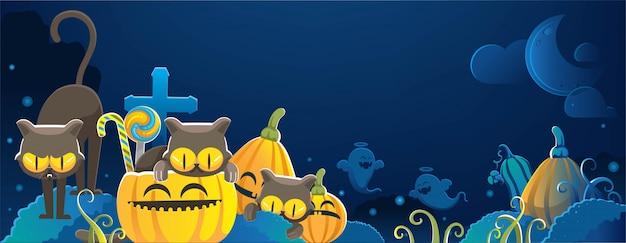 Кошки хэллоуина. счастливый баннер хэллоуина. хэллоуин фоны с ночью на кладбище