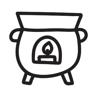 Halloween cauldron halloween object design isolated element on white background hand drawn vector do...