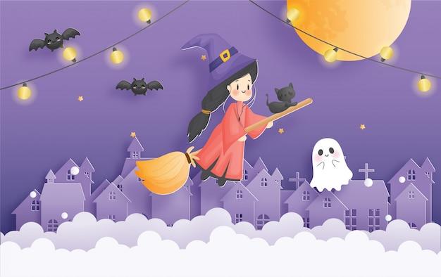 마녀와 유령 할로윈 축 하 카드입니다.