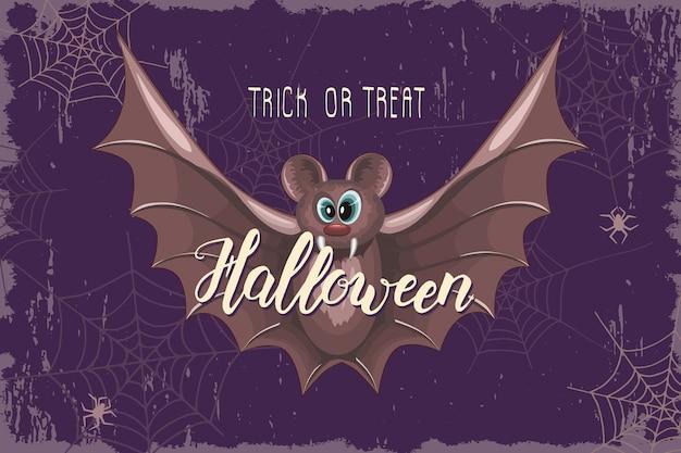 Halloween celebration design with cartoon bat