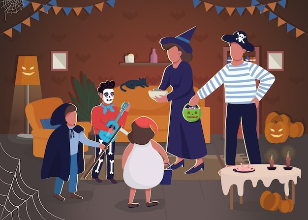 Halloween celebration semi flat illustration