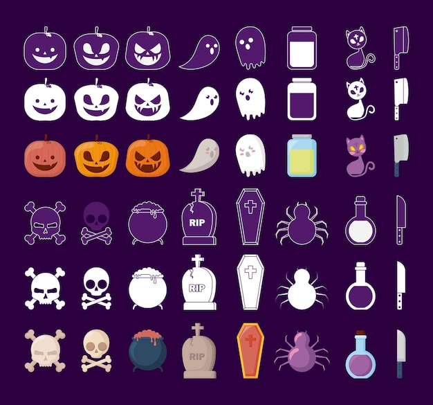 Halloween celebration set icons