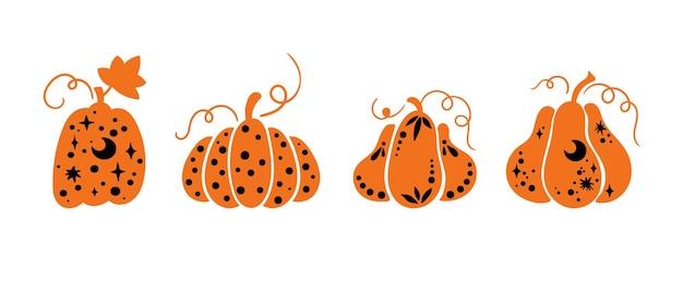 Halloween celestial pumpkin isolated clipart set fall magic pumpkin thanksgiving decor