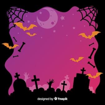 Halloween cemetery frame on flat design