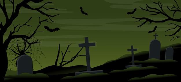 Halloween cemetery night illustration