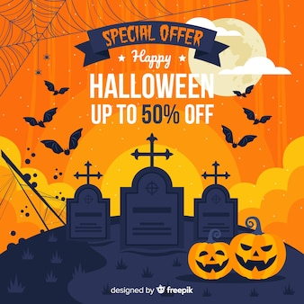 Halloween cemetery sale in flat design