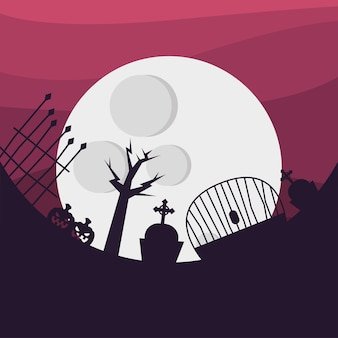 Halloween cemetery with gate pumpkins and moon design, scary theme
