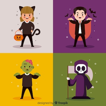Halloween character collection in flat design