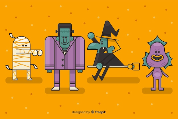 Halloween character collection on orange background