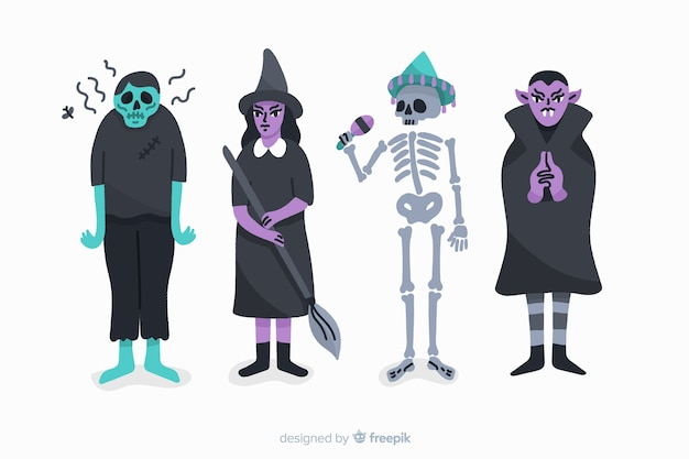 Halloween character collection on white background
