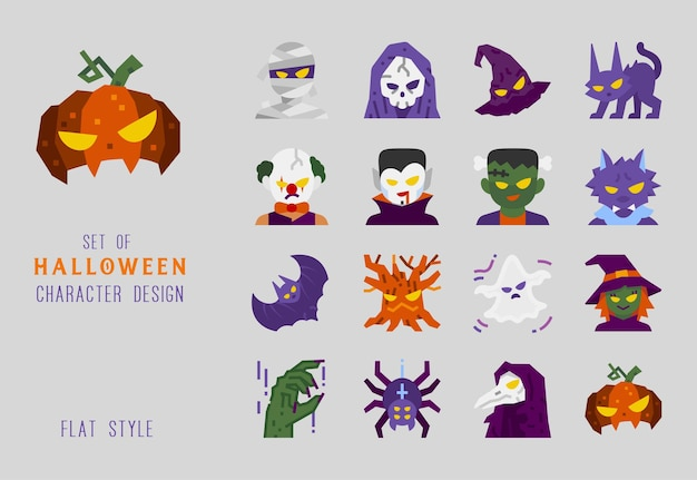 Halloween character flat design icon set for decoration.