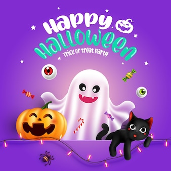 Halloween character ghost pumpkin with typography halloween background trick or treat concept