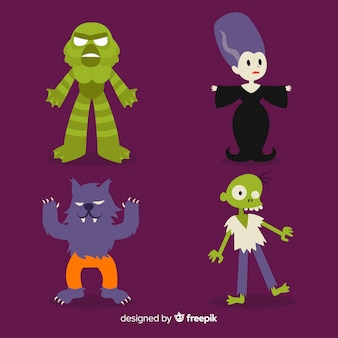 Halloween character pack in cartoon style