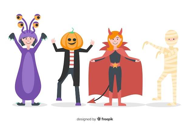 Halloween character pack flat design