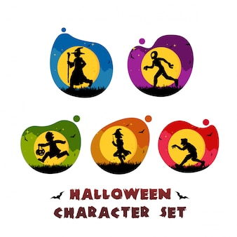 Halloween character set logo template