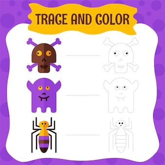 ハロウィンキャラクタートレースと色。子供のための着色ページ。
