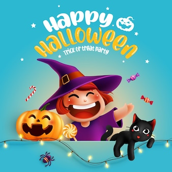 Halloween character witch pumpkin with typography halloween background trick or treat concept