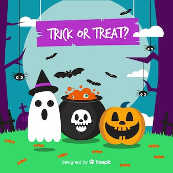 Halloween characters background in flat design