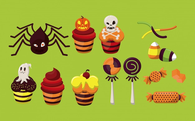 Halloween characters and candies cartoons