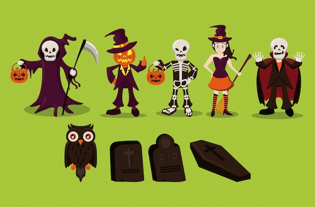 Halloween characters and cartoons