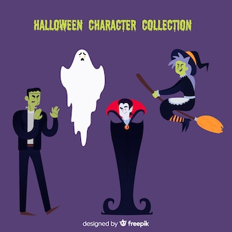 Halloween characters collection in flat design