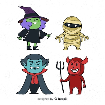 Halloween characters collection in hand drawn style