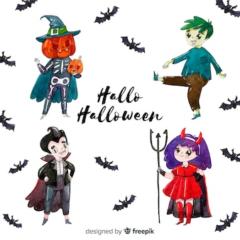 Halloween characters collection in watercolor