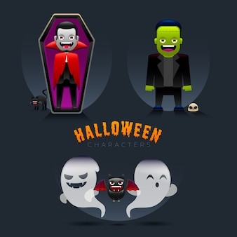 Halloween characters in gradient style
