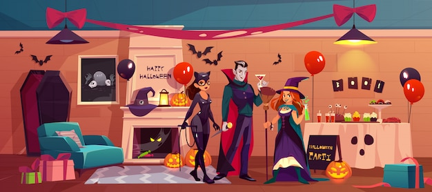 Halloween characters in party decorated interior