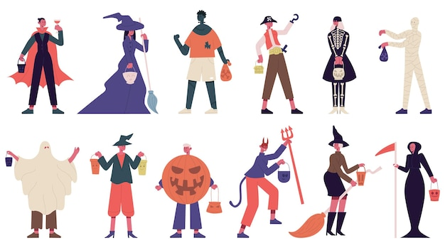 Halloween characters. people in halloween costumes, witch, ghost and mummy costumes for carnival party vector illustration set. halloween spooky. character halloween people in costume to holiday