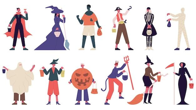 Персонажи хэллоуина. люди в костюмах хэллоуина, костюмах ведьм, призраков и мумий для карнавальной вечеринки. жуткий хэллоуин. персонаж хэллоуин люди в костюмах к празднику