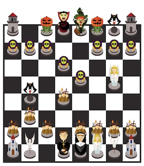Halloween chessboard or character set