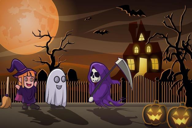 Halloween children costume party full moon