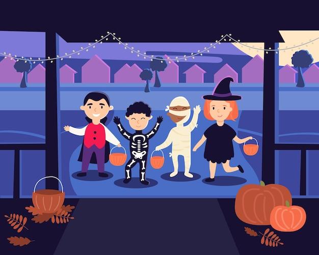 Хэллоуин. дети в костюмах ведьмы, мумии, вампира, костюмах скелетов пришли кошелек или жизнь