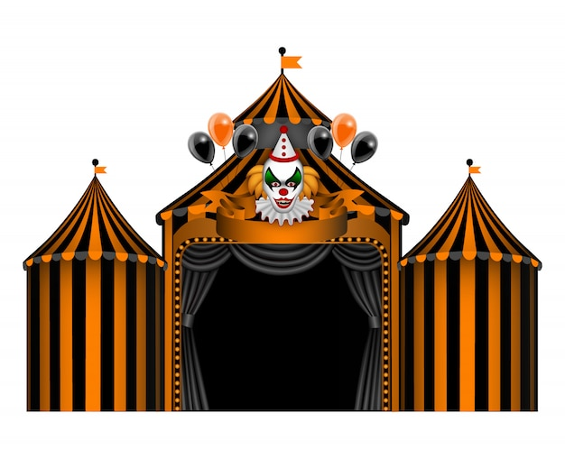 Halloween circus with horror clown and balloons