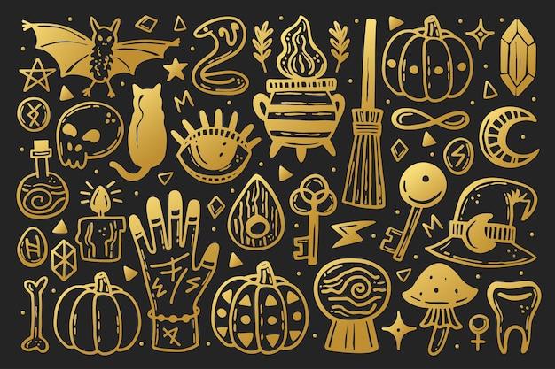 要素のハロウィーンクリップアートセット。ゴールデンスタイル