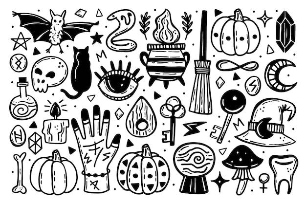 ハロウィーンクリップアート、要素のセット。魔法、超自然、超常現象。