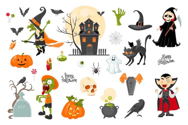 Halloween clipart collection cartoon style vector stock illustration isolated on a background