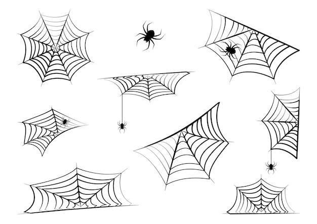 할로윈 거미줄과 매달려 거미입니다. 거미줄 모서리 테두리 및 프레임입니다. 공포 일러스트